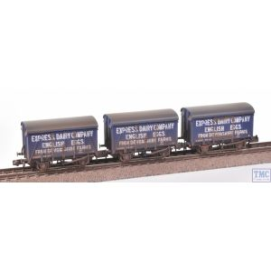 377-440 Graham Farish N Gauge SR 12T Ventilated Van Even Planked 3-Wagon Pack Express Dairies Eggs Blue Weathered by TMC
