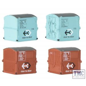 379-392 Graham Farish N Gauge Type A Containers BR Bauxite (x2) & Type AF Containers BR Light Blue (x2)