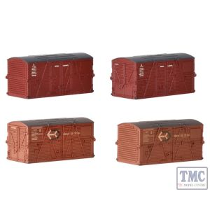 379-393 Graham Farish N Gauge Type BD Containers BR Bauxite (x2) & Type BD Containers BR Crimson (x2)