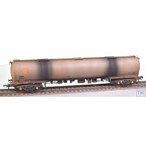 38-118 Bachmann OO Gauge BR 102T TEA Bogie Tank Wagon 'Shell' (BR Railfreight Petroleum Sector) Grey - Weathered