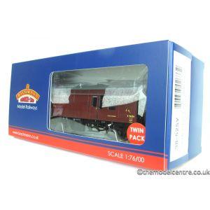 38-525YLTD Bachmann OO/HO Scale ER Maroon Horse Box E96346 & E96326 Pristine (TWIN)