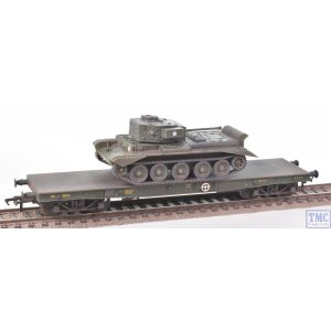 38-726 Bachmann OO Gauge Warflat Bogie Flat Wagon WD Bronze Green with Tank