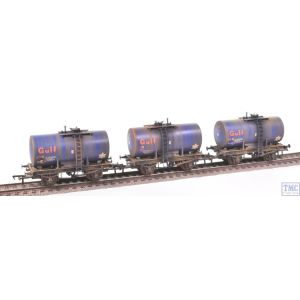 38-776Z Bachmann OO Gauge 20 Ton Anchor-Mounted Tank Wagons Gulf Blue (Set of 3) -TMC Limited Edition- Deluxe Weathering by TMC