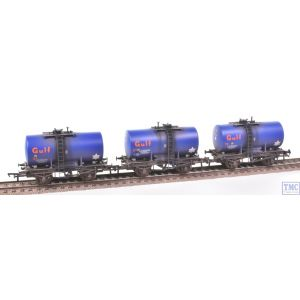 38-776Z Bachmann OO Gauge 20 Ton Anchor-Mounted Tank Wagons Gulf Blue (Set of 3) -TMC Limited Edition- Weathered by TMC
