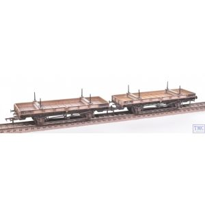 38-826Z Bachmann OO Gauge Double Bolster Wagons (Twin Pack) Freight Grey Livery M726282/E286444 with Deluxe Weathering by TMC