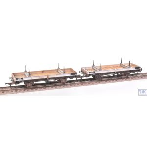 38-826Z Bachmann OO Gauge Double Bolster Wagons (Twin Pack) Freight Grey Livery M726282/E286444 Weathered by TMC