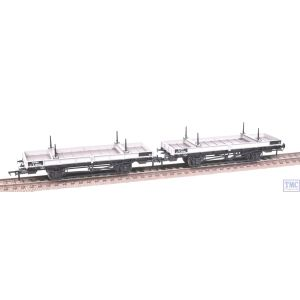 38-826Z Bachmann OO Gauge Double Bolster Wagon Twin Pack Freight Grey livery M726282/E286444