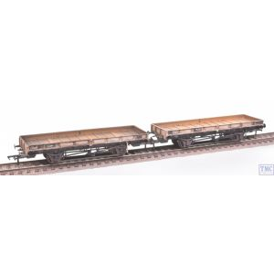 38-827Z Bachmann OO Gauge ex-Double Bolster Plate Wagons (Twin Pack) Freight Grey E310418/B920098 with Deluxe Weathering by TMC