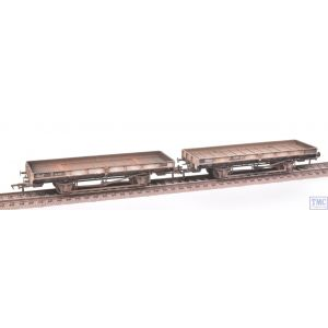 38-827Z Bachmann OO Gauge ex-Double Bolster Plate Wagons (Twin Pack) Freight Grey E310418/B920098 Extra Detail Weathering by TMC