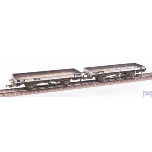 38-827Z Bachmann OO Gauge (ex-Double Bolster) Plate Wagons (Twin Pack) Freight Grey E310418/B920098 Weathered by TMC