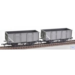 38-925Z Bachmann OO Gauge Set of BR 24.5 Ton Mineral Wagons, B280037 & B280009 in BR Grey Livery with Spindle Buffers & Oil Axleboxes