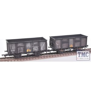 38-928Z Bachmann Set of 24.5 Ton Mineral Wagons B281982 in BR Grey with Yellow Triangle with Pressed Side Doors Spindle Buffers & Roller Bearings and B281146 in BR Grey with Yellow Triangle with Spindle Buffers & Roller Bearings.