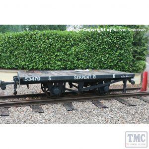 393-176 Bachmann OO9 Narrow Gauge RNAD Flat Wagon Statfold Barn Railway Grey 'Serpent B'