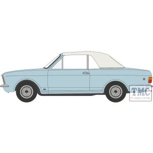 43CCC001A Oxford Diecast O Gauge Ford Cortina MkII Crayford Convertible Blue Mink Roof Up