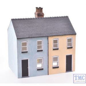 44-125X/44-046X Scenecraft OO Gauge Brick Outhouse & Rendered Workers Cottages (Semi-detached Pair) Painted by TMC: Blue & Yellow