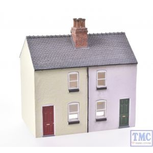 44-125X/44-046X Scenecraft OO Gauge Brick Outhouse & Rendered Workers Cottages (Semi-detached Pair) Painted by TMC: Green