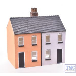 44-125X/44-046X Scenecraft OO Gauge Brick Outhouse & Rendered Workers Cottages (Semi-detached Pair) Painted by TMC: Orange