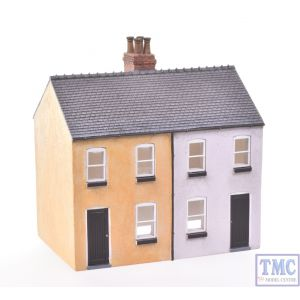 44-125X/44-046X Scenecraft OO Gauge Brick Outhouse & Rendered Workers Cottages (Semi-detached Pair) Painted by TMC: Yellow