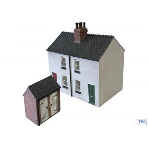 44-125X/44-046X Scenecraft OO Gauge Rendered Workers Cottages & Brick Outhouse (Double Sided) TMC Limited Edition