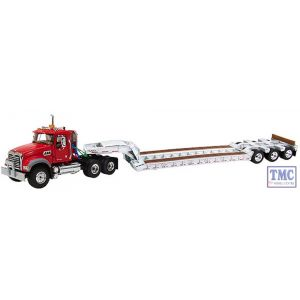 50-3271 First Gear 1:50 SCALE Mack Granite MP Red with White Tri-Axle Lowboy Trailer (Discontinued)