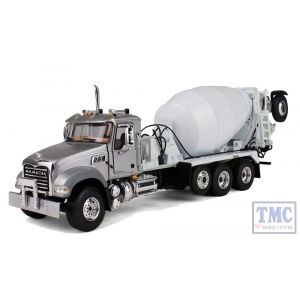 50-3335 First Gear 1:50 SCALE Mack Granite with McNeilus Bridgemaster Mixer Silver & White