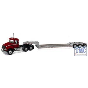 60-0205 First Gear 1:64 SCALE Mack Granite Dark Red & Silver with Tri-Axle Lowboy Trailer