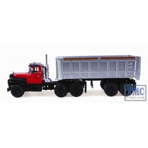 60-0246 First Gear 1:64 SCALE Mack R Model Red & Silver with 22' End Dump Trailer