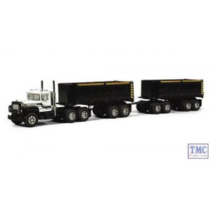 60-0247 First Gear 1:64 SCALE Mack R Model White & Black wit Dual End Dump Trailers