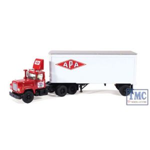 60-0255 First Gear 1:64 SCALE Mack R Model 'APA Transport' with 28' Pup Trailer