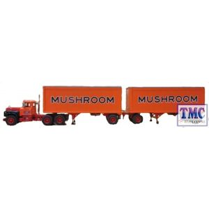 60-0286 First Gear 1:64 SCALE Mack R Model with 28' Pup Trailers 'Mushroom Transportation'
