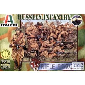 Italeri 1:72 WWII Russian Infantry Rifle Forces No 6057 (Pre owned) (3 pieces missing, 47 in total)