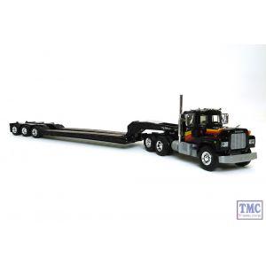 60-0270 First Gear 1:64 SCALE Mack R Model Black with Tri-Axle Lowboy Trailer