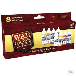 70.156 War Games Paint Series by Vallejo WW2 Infantry Basic Paint Set 8x17ml