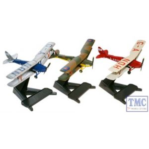 72TM004 Oxford Diecast 1:72 Scale DH82 Tiger Moth Glasmoth Set (3)