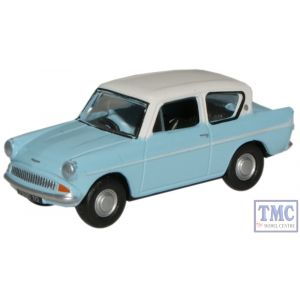 76105007 Oxford Diecast Lt.Blue/Ermine White Ford Anglia 1/76 Scale OO Gauge