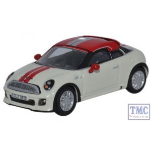 76MC001 Oxford Diecast 1/76 Scale OO Gauge Mini Coupe Pepper White and Chilli Red