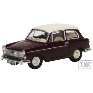 76AA007 Oxford Diecast OO Gauge Austin A40 MkII Maroon B/Snowberry White