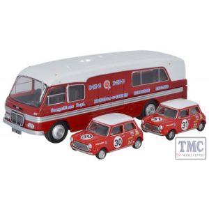 76BMC003 Oxford Diecast OO Gauge BMC Car Transporter & Two Minis BMC Competitions Dept