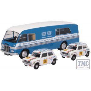 76SET54 Oxford Diecast 1:76 Scale BMC Transporter & 2 Mini 1275GT Set British Leyland Nederland