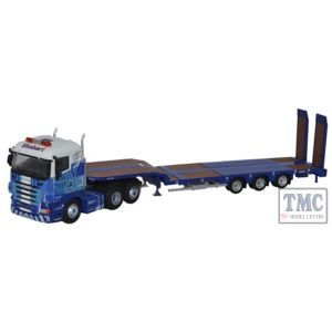 76SHL01ST Oxford Diecast 1:76 Scale OO Gauge Scania Highline Nooteboom 3 Axle Semi Low Loader Stobart Rail