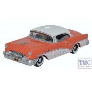 87BC55002 Oxford Diecast HO Gauge Buick Century 1955 Coral/Polo White