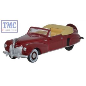 87LC41001 Oxford Diecast Lincoln Continental 1941 Maroon 1/87 Scale HO Gauge