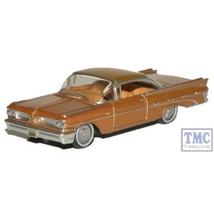 87PB59001 Oxford Diecast HO Gauge Pontiac Bonneville Coupe 1959 Canyon Copper Metallic