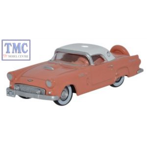 87TH56001 Oxford Diecast Ford Thunderbird 1956 Sunset Coral_Colonial White 1/87 Scale HO Gauge