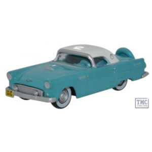 87TH56002 Oxford Diecast Ford Thunderbird 1956 Peacock Bluel_Colonial White 1/87 Scale HO Gauge