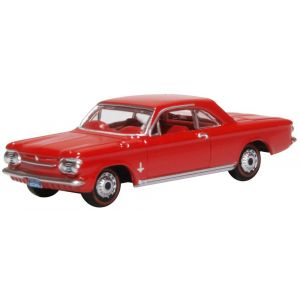 87CH63002 Oxford Diecast 1/87 Scale HO Gauge Chevrolet Corvair Coupe 1963 Riverside Red