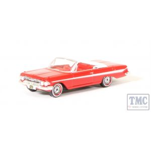 87CI61002 Oxford Diecast 1/87 Scale HO Gauge Chevrolet Impala 1961 Convertible Roman Red/White