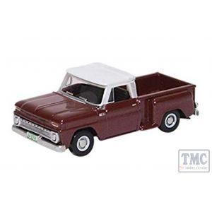 87CP65003 Oxford Diecast HO Gauge Chevrolet Stepside Pick Up 1965 Maroon Metallic