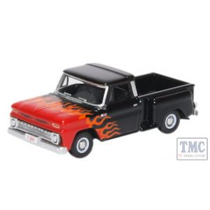 87CP65004 Oxford Diecast 1:76 Scale OO Gauge Chevrolet Stepside Pick Up 1965 Red/White