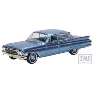 87CSD61003 Oxford Diecast HO Gauge Cadillac Sedan Deville 1961 Nautilus Blue
